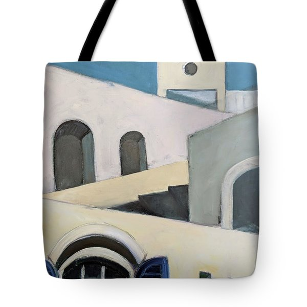 Tote Bag featuring the painting After De Chirico by Jillian Goldberg