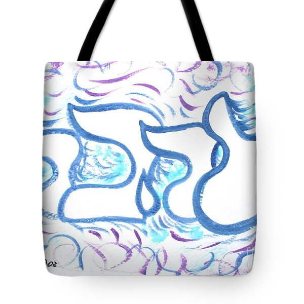 Tote Bag featuring the painting Ahava  Nf20-148 by Hebrewletters Sl