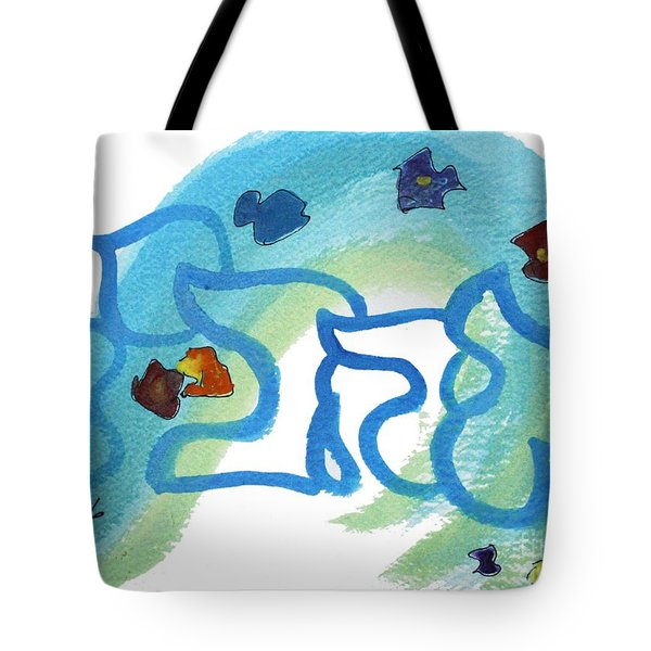 Tote Bag featuring the painting Ahavya  Nf22-154 by Hebrewletters Sl