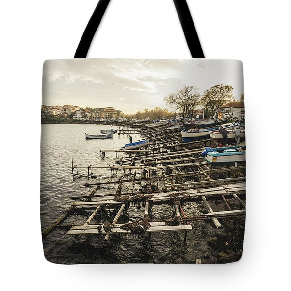 Tote Bag featuring the photograph Ahtopol Fishing Town by Milan Ljubisavljevic