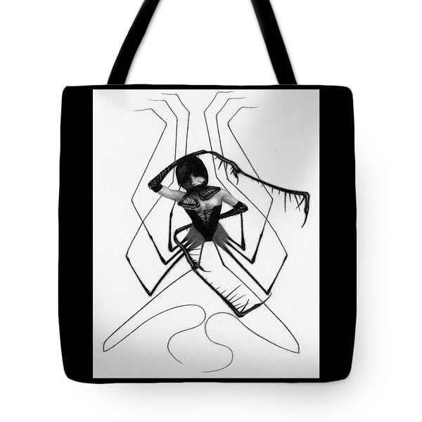 Tote Bag featuring the drawing Aiko The Mistress Noir - Artwork by Ryan Nieves