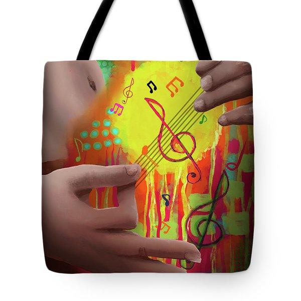 Tote Bag featuring the digital art Air Guitar by April Burton