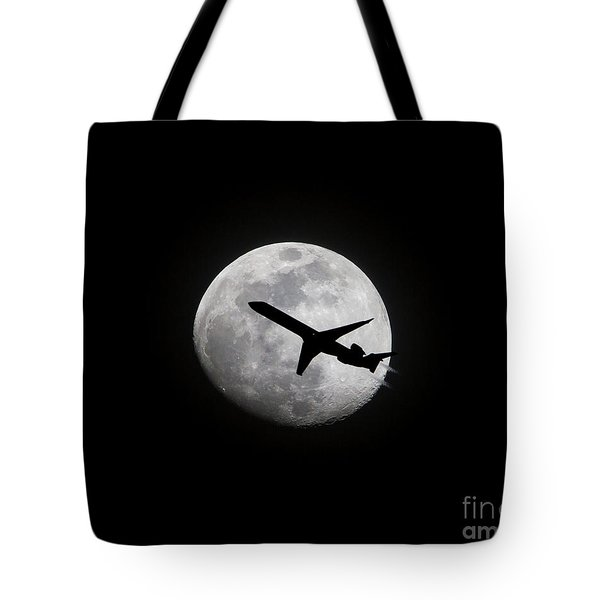 Airliner Passing In Front Of A Full Moon Tote Bag