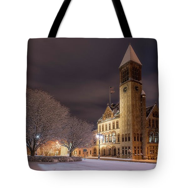 Tote Bag featuring the photograph Albany City Hall by Brad Wenskoski