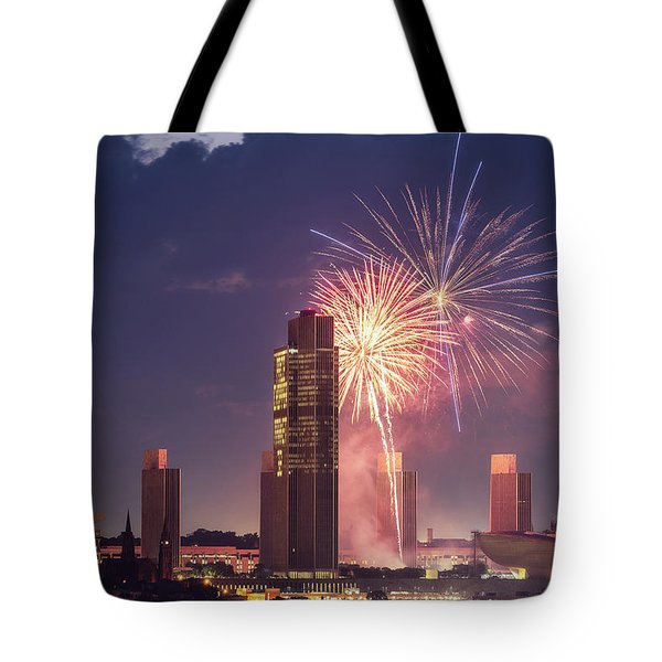 Tote Bag featuring the photograph Albany Fireworks 2019 by Brad Wenskoski