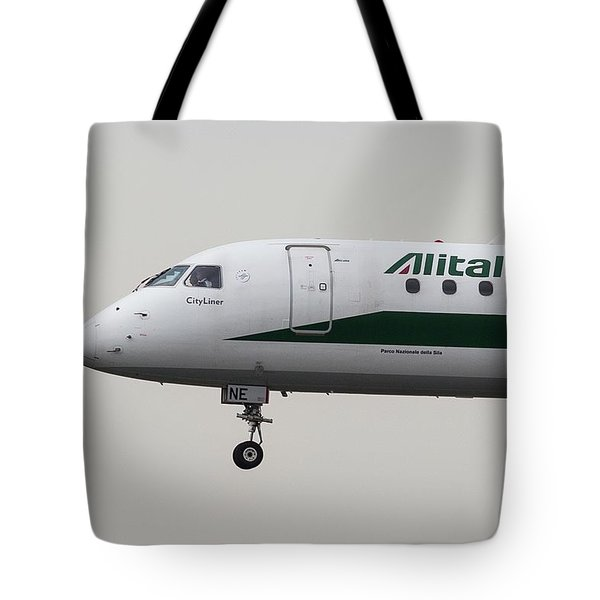 Alitalia Embraer 190 And Bird  Tote Bag