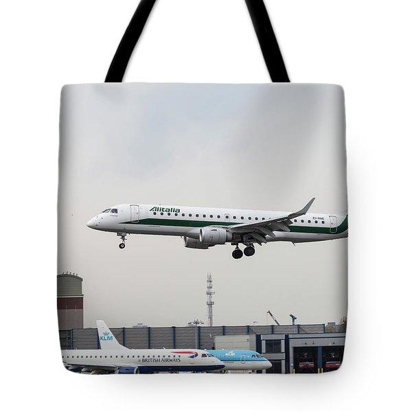 Alitalia Embraer 190 Bird Near Miss Tote Bag