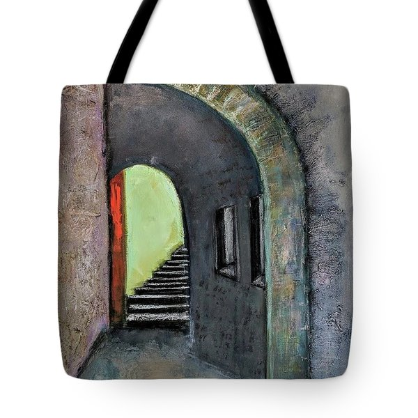 Tote Bag featuring the painting Alley Jaffa by Jillian Goldberg