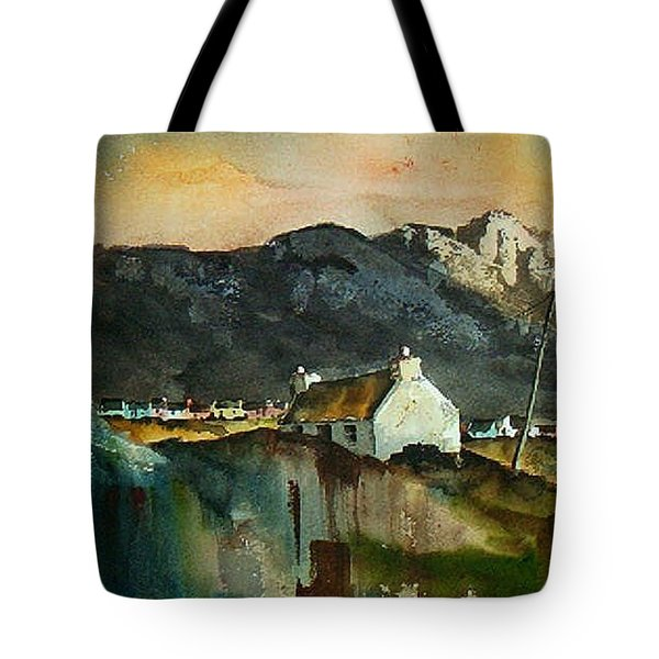 Tote Bag featuring the painting Allihies Sunset, Beara Peninsula, Co. Cork by Val Byrne