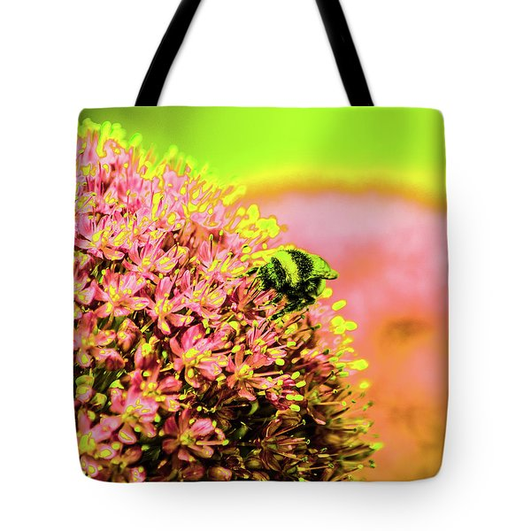 Allium With Bee 1 Tote Bag
