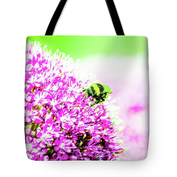 Allium With Bee 3 Tote Bag
