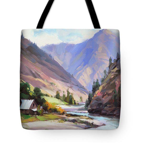 Tote Bag featuring the painting Along The Salmon River by Steve Henderson