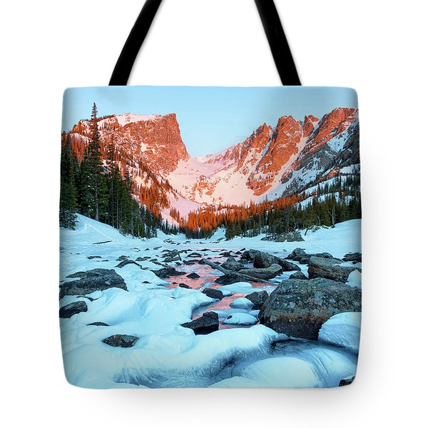 Alpenglow At Dream Lake Rocky Mountain National Park Tote Bag