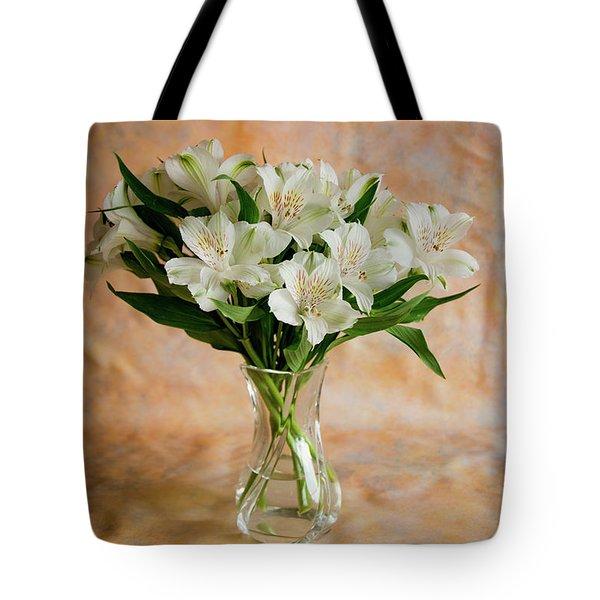 Alstroemeria Bouquet On Canvas Tote Bag
