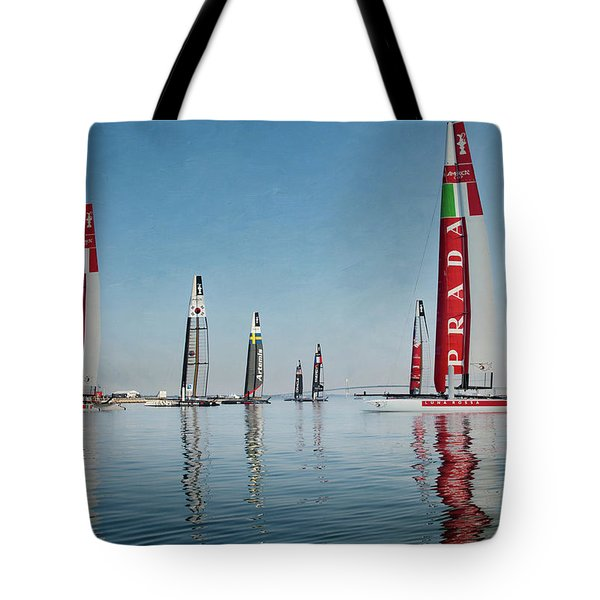 America Cup Boat Reflections Tote Bag
