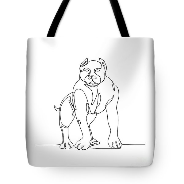 American Bully Continuous Line Tote Bag