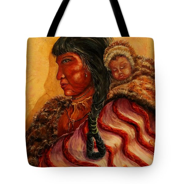 American Indian Mother And Child Tote Bag