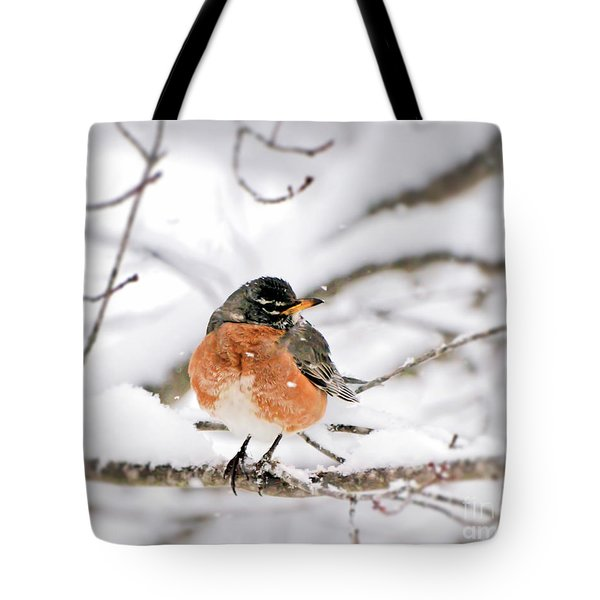 American Robin In The Snow Tote Bag