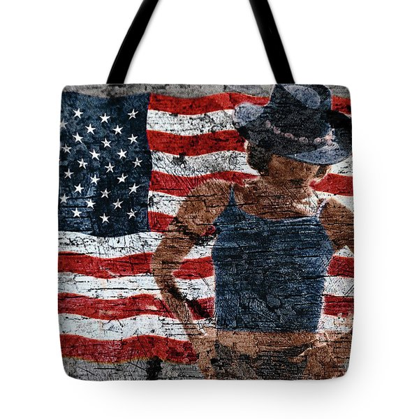 Tote Bag featuring the photograph American Woman Composite by John Rodrigues
