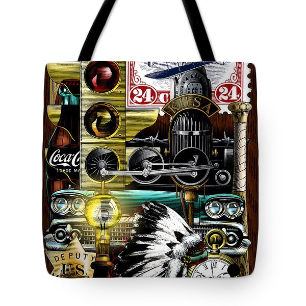 Tote Bag featuring the drawing Americana by Clint Hansen
