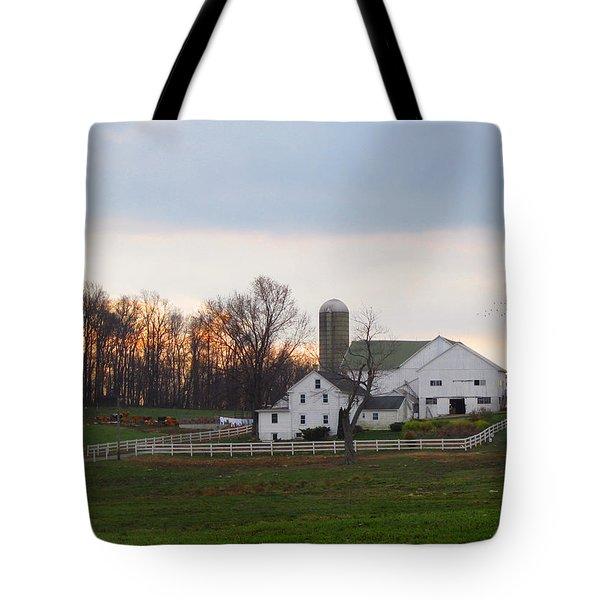 Amish Farm At Dusk  Tote Bag