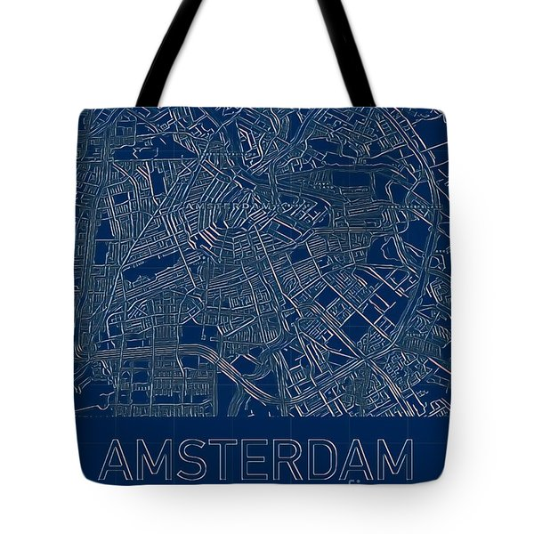 Tote Bag featuring the digital art Amsterdam Blueprint City Map by Helge