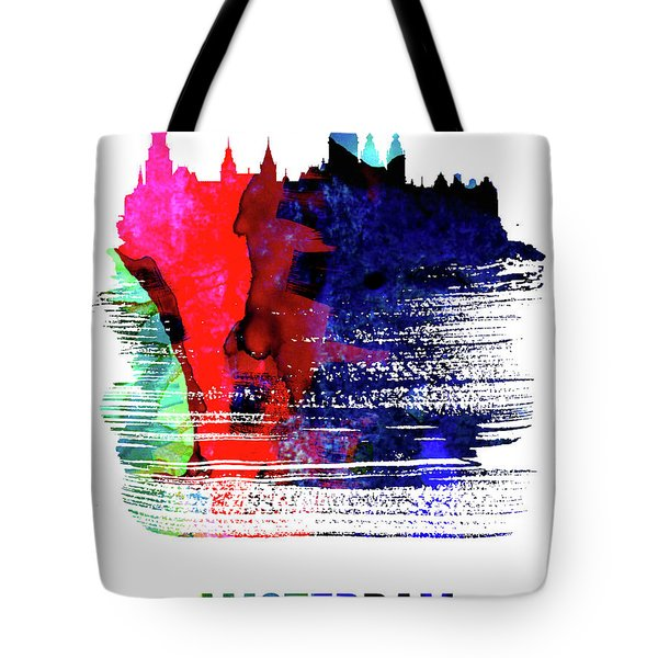 Amsterdam Skyline Brush Stroke Watercolor   Tote Bag