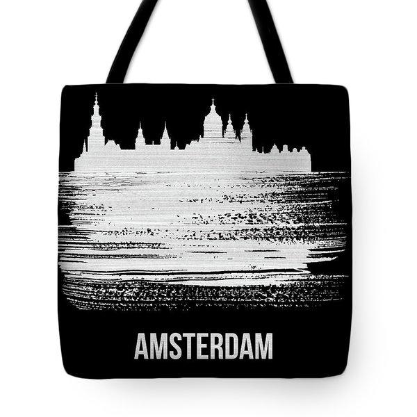Amsterdam Skyline Brush Stroke White Tote Bag