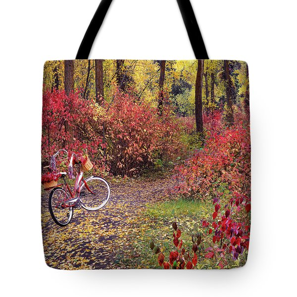 Tote Bag featuring the photograph An Autumn Bike Trek by Leland D Howard