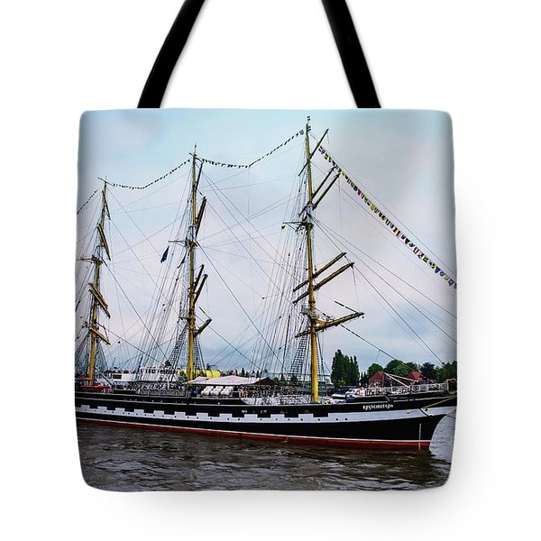 An Exit Sailboat Krusenstern On Parade Tote Bag
