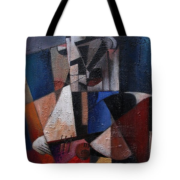 Tote Bag featuring the painting An Fear Lies An Gitar by Val Byrne