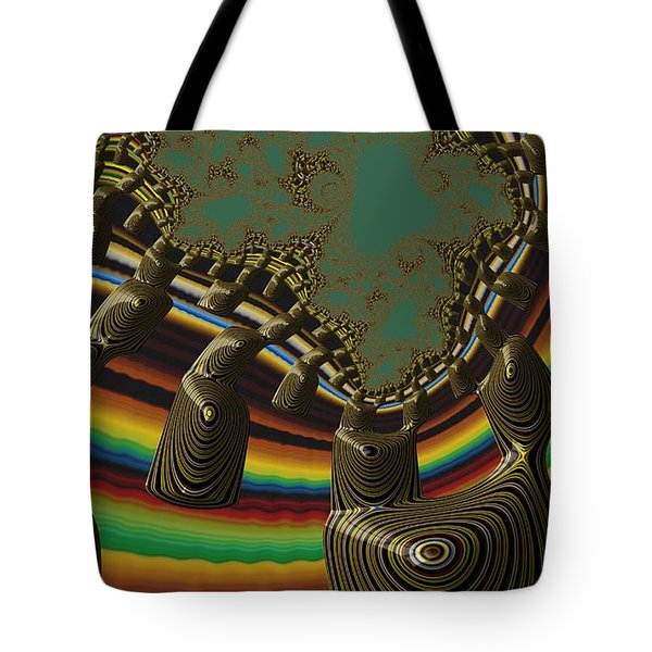 Tote Bag featuring the digital art Ancient Civilizations Fractal Abstract by Shelli Fitzpatrick