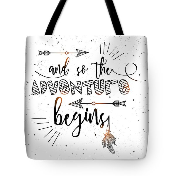 And So The Adventure Begins - Boho Chic Ethnic Nursery Art Poster Print Tote Bag