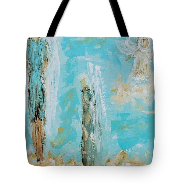 Angels Appear On Golden Clouds Tote Bag