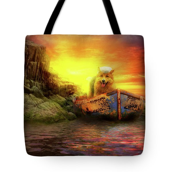 Tote Bag featuring the photograph Animal - Dog - Up The Creek Without A Pawdle by Mike Savad