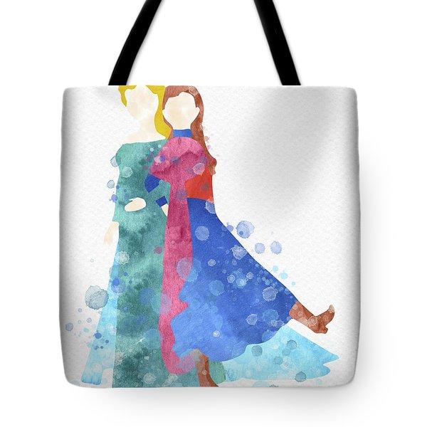 Anna And Elsa Watercolor Tote Bag