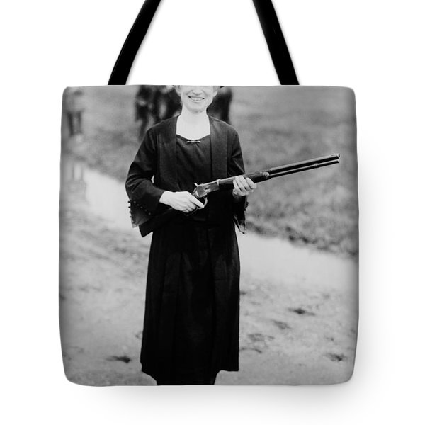 Annie Oakley Holding Rifle - 1922 Tote Bag