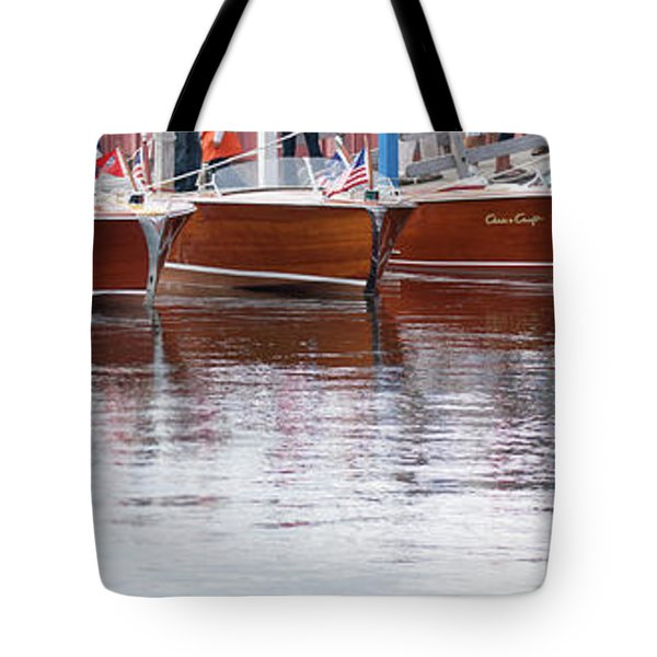 Antique Classic Wooden Boats In A Row Panorama 81112p Tote Bag