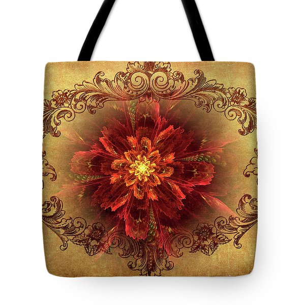 Antique Foral Filigree In Crimson And Gold Tote Bag