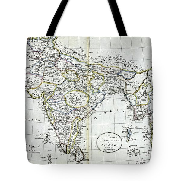Antique Map Of India   Tote Bag