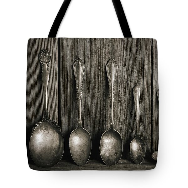 Antique Silver Spoons Tote Bag