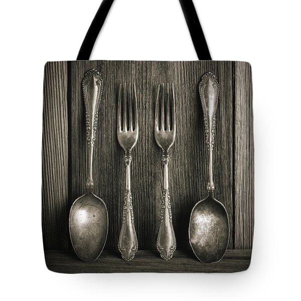 Antique Silver Tableware Tote Bag