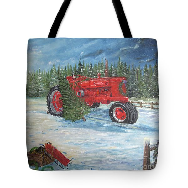 Antique Tractor At The Christmas Tree Farm Tote Bag