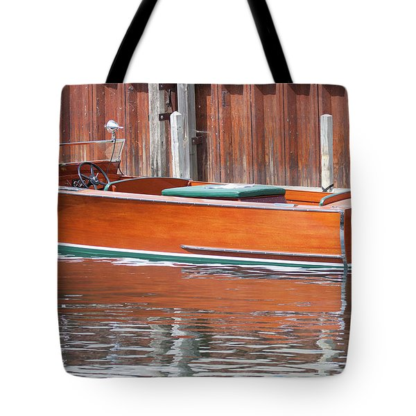 Antique Wooden Boat By Dock 1302 Tote Bag