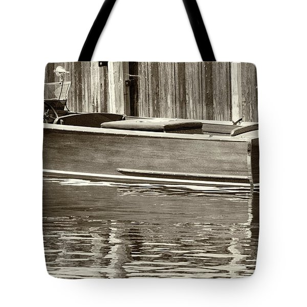 Antique Wooden Boat By Dock Sepia Tone 1302tn Tote Bag