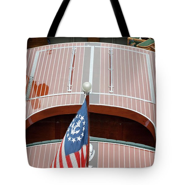 Antique Wooden Boat With Flag 1303 Tote Bag