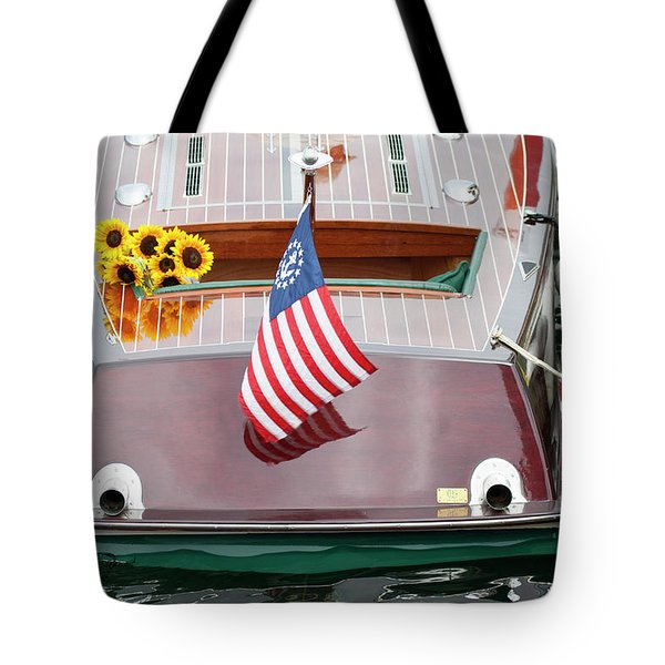 Antique Wooden Boat With Flag And Flowers 1304 Tote Bag