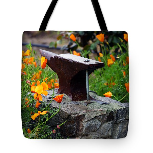 Anvil In The Poppies Tote Bag