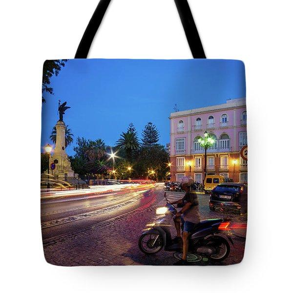 Tote Bag featuring the photograph Apodaca Boardwalk Traffic Lights Cadiz Spain by Pablo Avanzini