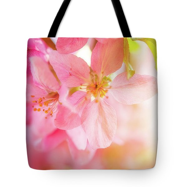Tote Bag featuring the photograph Apple Blossoms Bright Glow by Leland D Howard
